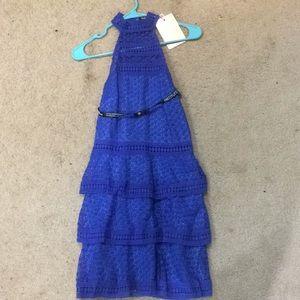 Blue, three tiered layered sleeveless dress.
